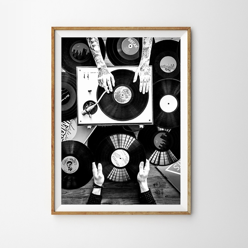 Vinyl Records Lovers Wall Art Canvas Painting Nordic Poster And Print Vintage Photo Black White Wall Picture Living Room Decor