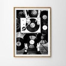 Cuadro de amantes de los discos de vinilo cuadro sobre lienzo para pared cartel nórdico e impresión foto Vintage negro blanco imagen de pared Decoración Para sala de estar
