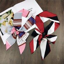 New Hot Striped Dots Print Women Satin Scarf Small Bag Ribbon Female Headband Fashion Head Long Scarves & Wraps Kerchief