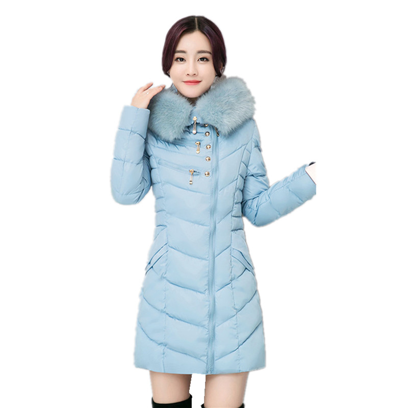 New 2016 Women Winter Jackets  Long Slim Hooded Down Cotton Jacket Women Winter Coat Thick  Warm Female Parkas Plus Size W134