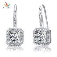 Drop Shipping Free 1 5 Carat Simulated Diamond 925 Sterling Silver Dangle Earrings CFE8047