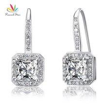 Estrella Cuelga Los Pendientes Dama de honor Nupcial de La Boda del pavo real Creado Diamante Sólido 925 Plata Esterlina Joyería CFE8047