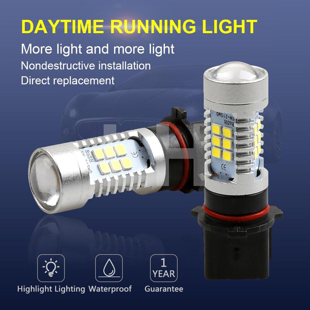 2PCS LED Bulbs High Power 21-SMD LED Daytime Running P13W Fog Light 12V 24V White 6000K