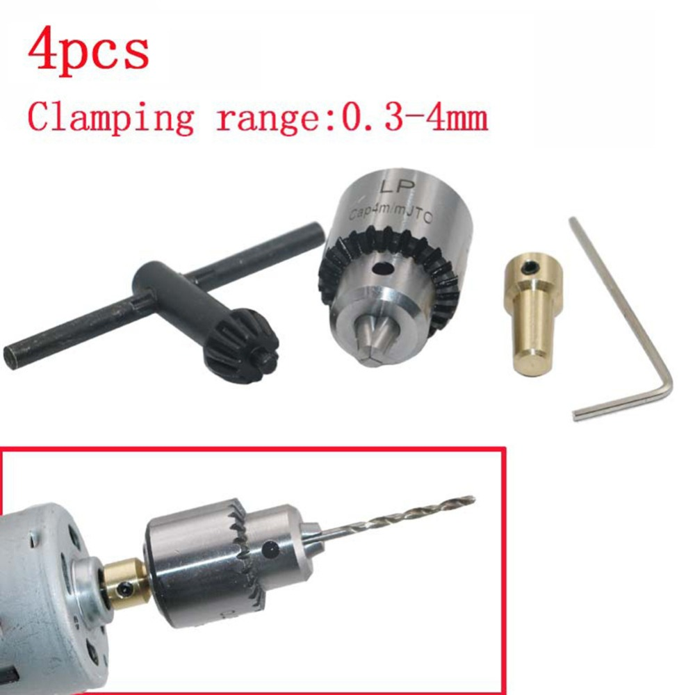 цена на Micro Motor Drill Chucks Clamping 0.3-4mm Jt0 Taper Mounted Drill Chuck With Chuck Key Brass Mini Electric Motor Shaft