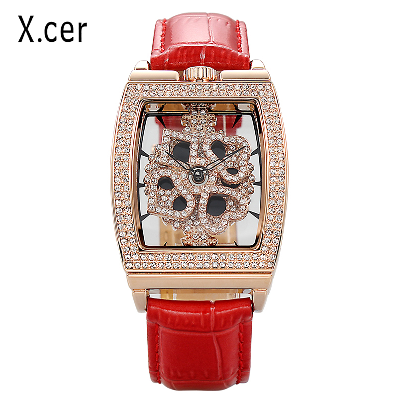 X.cer Luxury Genuine Leather Women Watches Fashion Lady Watch Dress Watch Rhinestone Quartz Wrist Watches Gifts Dropshipping fansico leather women watch lady dress watches fashion luxury quartz wrist watch girl women wristwatch dropshipping gift present