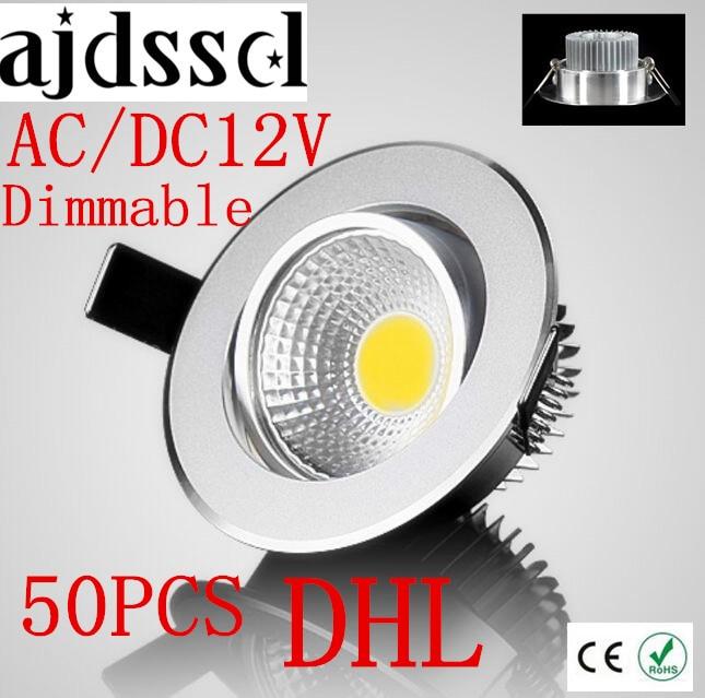 50PCS/lot Super Bright Recessed LED Dimmable Downlight COB 3W 5W 7W 12W LED Spot light LED decoration Ceiling Lamp AC/DC 12V