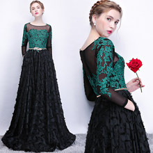 Turquoise Lace Appliques Black Evening Dresses Long Sleeves with Pocket A Line Elegant Women Evening Gowns vestido de madrinha(China)