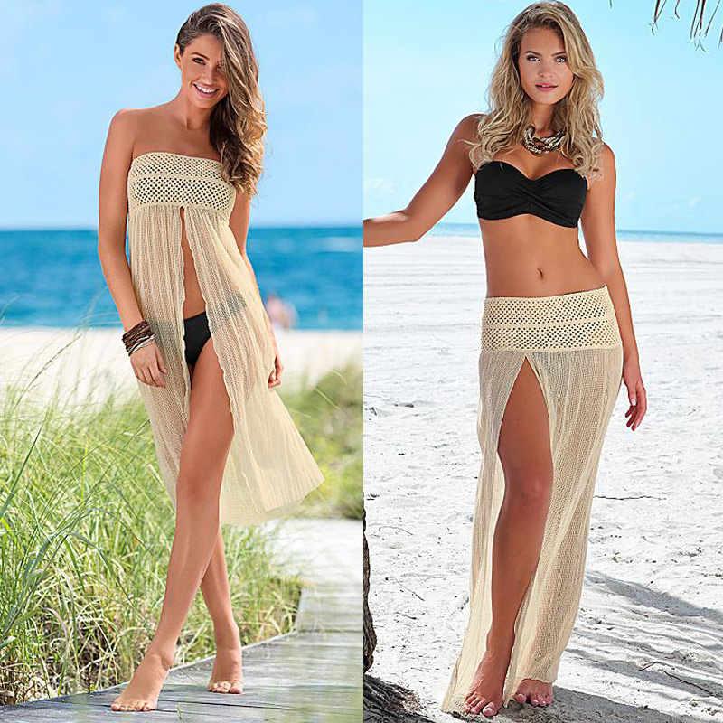 3f1359501814 Detail Feedback Questions about Women Sleeveless Beach Dress Mesh Hollow  Floatsuit Crochet Lace Summer Tunic Dress 2019 Women Beachwear Beige  Swimsuit Cover ...