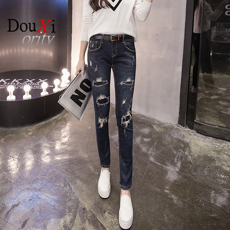 ФОТО High quality spring style skinny jeans woman street style patchwork ripped jeans ladies denim pants female casual pencil pants