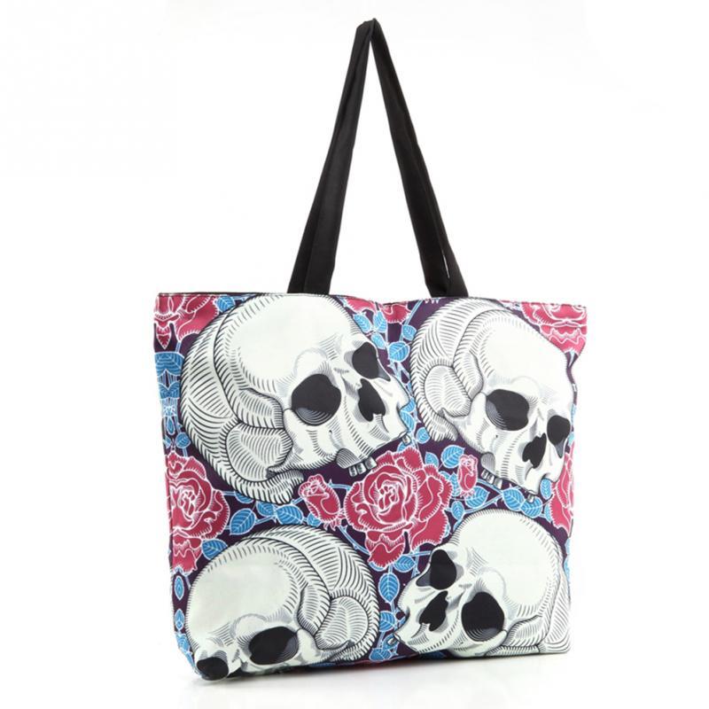 Street S Por Bag Capacity Handbag Zipper Exaggerated Skull Head Print Tote Bags Shoulder In Top Handle From Luggage On
