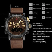 NAVIFORCE dual display LED digital analog Electronic quartz watch