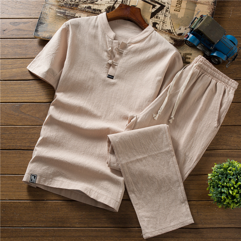 High Quality Summer Thin Cotton Linen Sets Men's Short Sleeve T-shirt Shorts Solid Color Loose Casual Suit Large Size M-5XL
