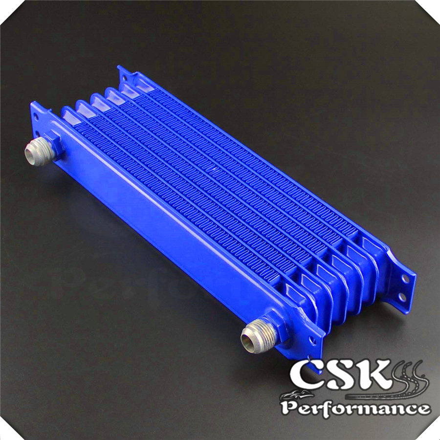 Universal 7 Row AN10 Engine Transmission Trust Oil Cooler 2pcs Fittings Blue