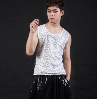 2015 newest white color bar nightclub male singers personality DJ Rock ds dancer show sequined vest stage performance costumes