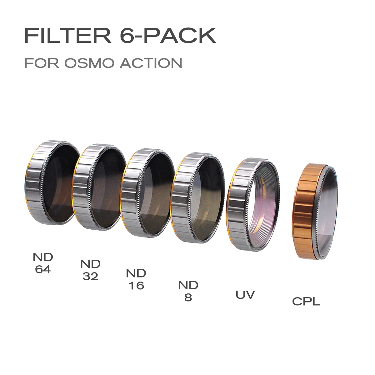 6 IN 1 DJI OSMO ACTION Sport Camera Lens Filter UV CPL ND8 ND16 ND32 ND64