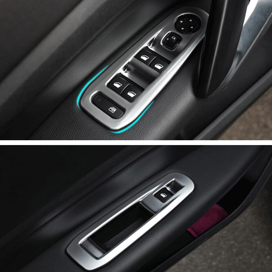 Car Interior Door <font><b>Armrest</b></font> Window Lift Switch Panel Cover Frame Trim Styling For <font><b>Peugeot</b></font> <font><b>408</b></font> 2014-2018 ABS Matte Silver image
