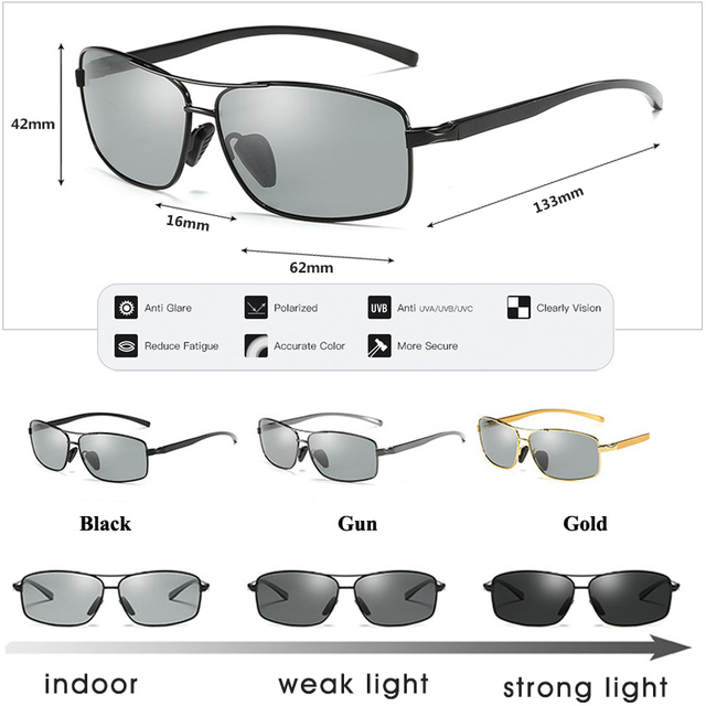 LIOUMO Top Photochromic Sunglasses Men Women Polarized Chameleon Glasses Driving Goggles Anti-glare Sun Glasses zonnebril heren 8