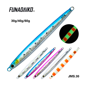 Image 2 - FUNADAIKO 5pcs/lot lead jig artificial baits fishing lure pencil jig metal jig Jigging lure slow jig 20g 30g 40g 60g 80g jig