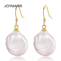 JOYMARK Baroque Style Irregular Big Size Genuine Natural Pearl Pendant Earrings 925 Sterling Silver Jewelry For Women JPSE062