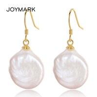 JOYMARK Baroque Style Irregular Big Size Genuine Natural Pearl Pendant Earrings 925 Sterling Silver Jewelry For Women JPSE062