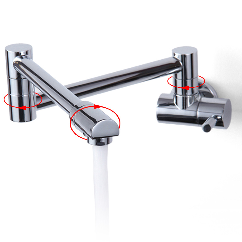 Permalink to Kitchen Faucet Wide Range Long Mouth Kitchen Brass Faucet Sink Wall Hanging Single Cold Faucet 360 Rotating Telescopic Folding