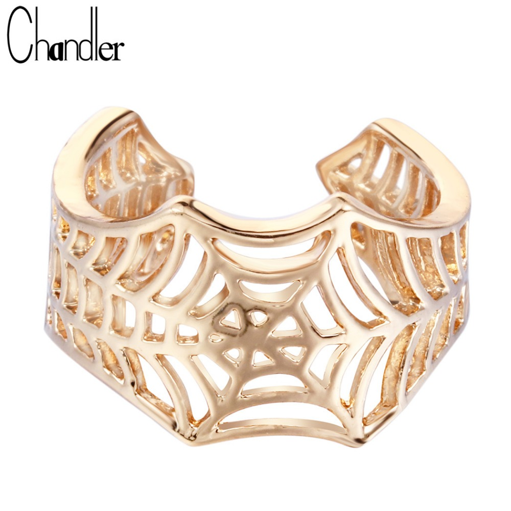 Chandler Batman Design Spider Web Ring Boho Hip hop Jewelry Open Wide Knuckle Toe anillos For