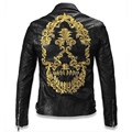Newly Leather Jacket For Men Genuine Leather Skulls Motorcycle Leather Jacket Male Men's Skull Motorcycle Jacket Overcoats C005