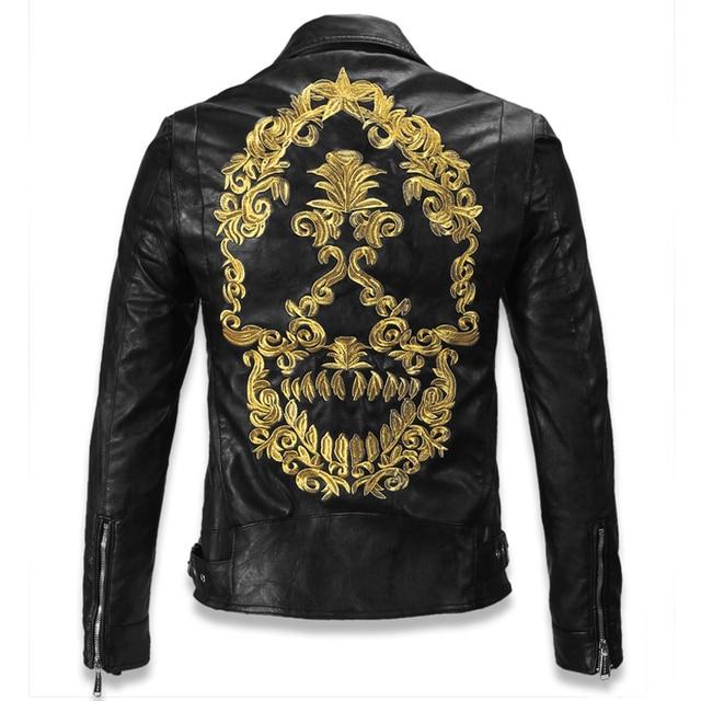 Newly Leather Jacket For Men Genuine Leather Skulls Motorcycle Leather Jacket Male Men's Skull Motorcycle Jacket Overcoats C005