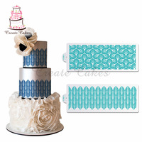 2 stücke Texture Kunststoff Schablone Kuchen Dekoration Hochzeit Kuchen Seite Schablone Grenzschablonen für Malerei Backen Werkzeuge ST-886