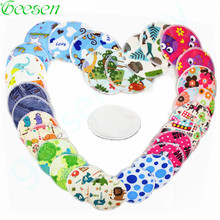 5 Pasangan Reusable Waterproof Printed Breast Absorbent Nursing Feeding Pad, 12cm, Bamboo Material Inner Nursing Pads