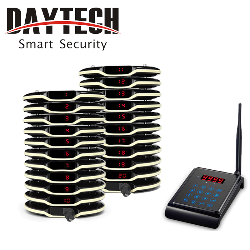 все цены на DAYTECH Wireless Queue Calling System Restaurant Guest Coaster Pager System 1 Keyboard 20 pcs Pagers онлайн