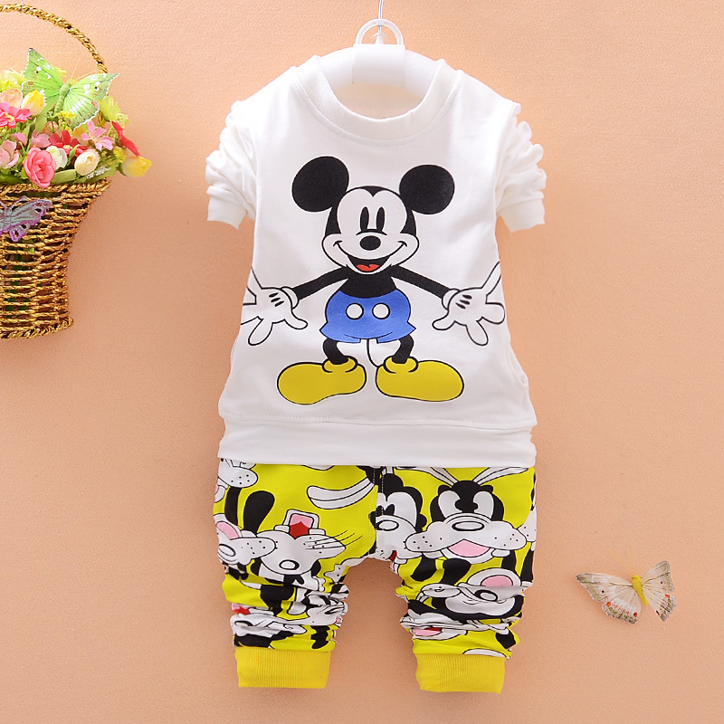Boys Clothing Sets Cartoon Mickey Print Autumn Cotton Fashion Costumes Tracksuit Outfit Kids Clothes Sport Suit Girls Clothing