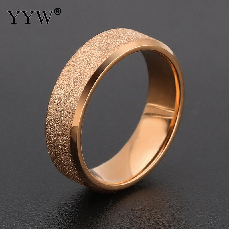 Unisex Finger Ring 316 Stainless Steel plated Rose Gold-color Blue Width 6mm #7/8/9/10/11/12 Midi Wedding Couple Ring Sold By PC