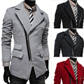 2014 New Arrival Promotion Regular Twill Spring Irregular Pocket Oblique Zipper Turn-down Collar Male Wool Slim Coat Outerwear
