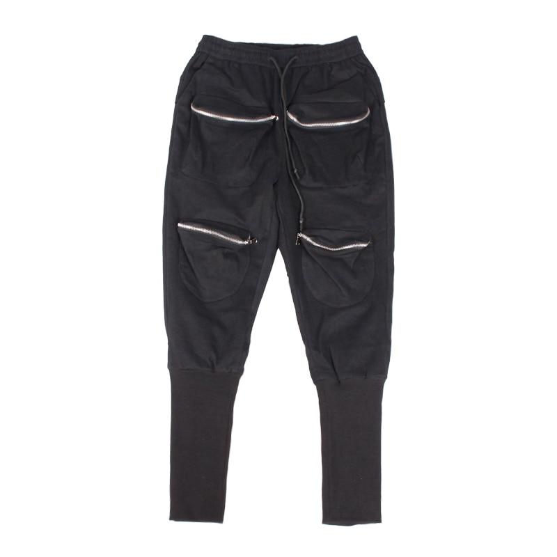 2017 Hommes Pantalon Sur Nouveau Forage Taille De Multiples Noir Crâne Haren Personnalité Costumes Poches Casual Hiver Élastique E00rHq