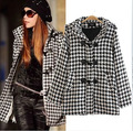 New Winter 2017 wool ocercoat topcoat Horn Button Black And White blends fine quality star styleHooded Plaid Overcoats With Hood