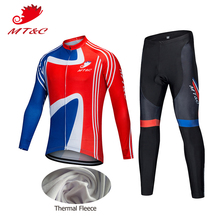 MT&C Man Winter Cycling Jersey Set England Red Blue Cycling Windbreak Clothing 9D Gel Pad Bicycle MTB Pro Team Cycling Clothes