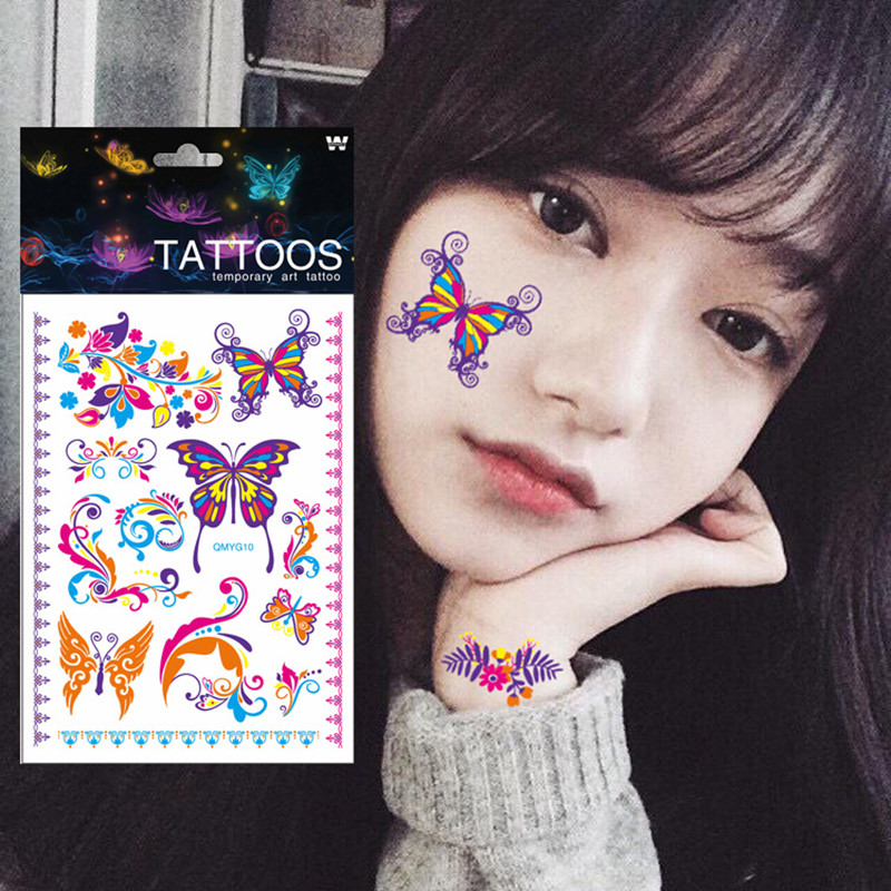 1 Sheet Luminous Temporary Tattoos - Body Art Halloween Party 1