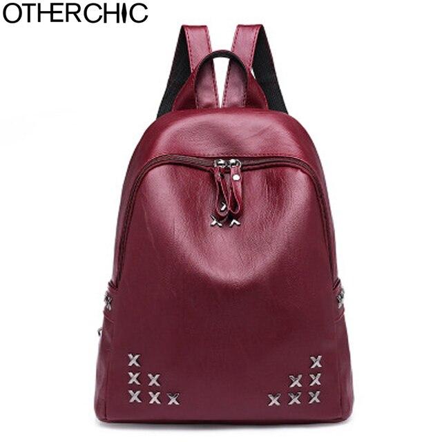 OTHERCHIC Fashion Women Rivet Backpacks PU Leather Burgundy Backpack For  Teenage Girls Sac A Dos Femme Female Knapsack L-8N01-11 dd4020bbb0