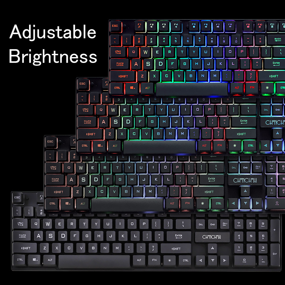 Gaming Keyboard Rainbow Colorful Backlit Game Keyboard RU/ES Layout with Microphone USB Wired Keyboard for PC Gamer Computer
