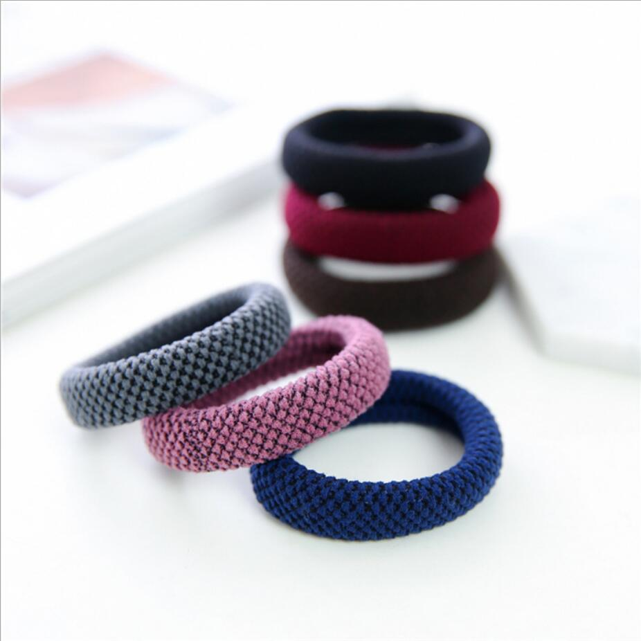 Diligent Scrunchie High Elastic Rubber Band Square Thickening Women Hair Rope Hair Accessories Simple Solid Black Colors Girl Gift Last Style