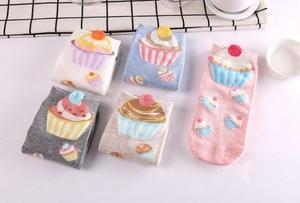 Image 1 - 500 pairs/lot summer women 3D cupcake cotton sock/cake print sock 5 color for choose