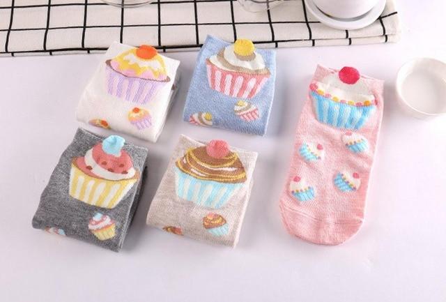 500 pairs/lot summer women 3D cupcake cotton sock/cake print sock 5 color for choose
