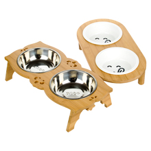 Pet Dog Cat Bowl Bamboo Clappers Two Food and Water Porcelain Bowl