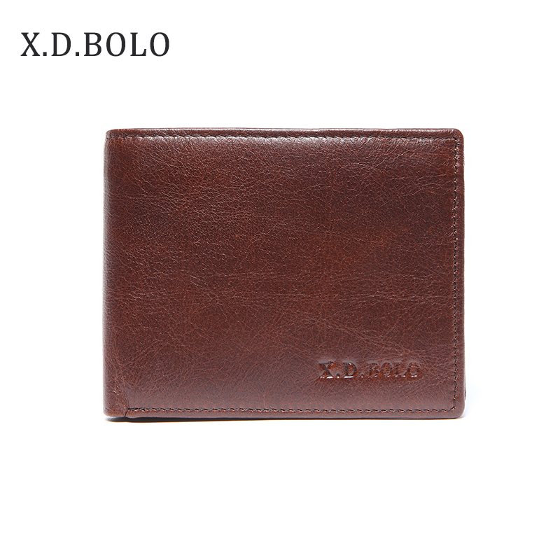 X.D.BOLO Bifold Wallet Small Purse Business-Man Genuine-Leather Brand Luxury Men Office