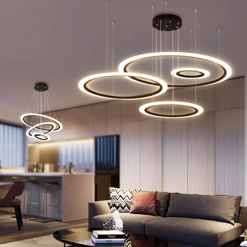 NEO Gleam Black/Coffee Color Modern Led Pendant Lights For Living Room Dining Room Acrylic Aluminum Body LED Pendant Lamp Lighti