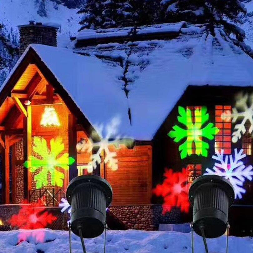 Laser Projektor Schneeflocke Im Freien Garten Rasen Landschaft ...