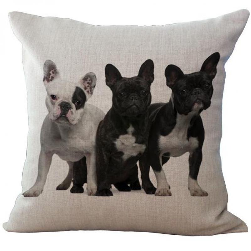 European Style Black And White Adorable French Bulldog Dog Series Linen Throw Pillow Case For Home Supplies