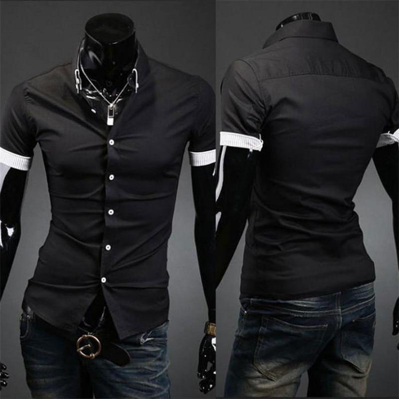 0ac1f880e Fashion Casual Men's Shirt Short Sleeve Button Down Slim Summer Dress  Shirts Formal Men Work Shirt Black White Tops-in Dress Shirts from Men's  Clothing on ...