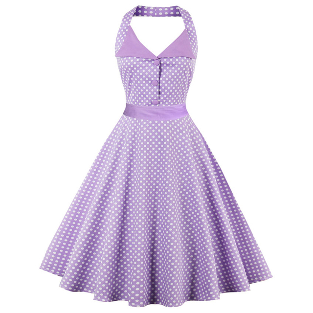 ecaba1ef4f302 Kenancy Plus Size 4XL Women Retro Dress 60s Vintage Rockabilly Swing  Feminino Vestidos Halter Sleeveles Polka